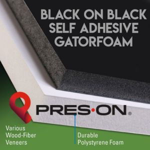 24 x 36 x 1/2 Pres-On Black Self Adhesive Gator Board 10 sheets