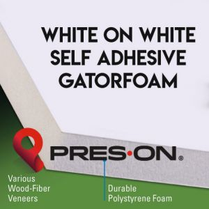 24 x 36 x 1/2 Pres-On White Self Adhesive Gator Board 10 sheets